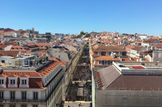 Vista do Arco da Rua Augusta em Lisboa